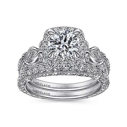 Nantes 18k White Gold Round Halo Engagement Ring angle 4