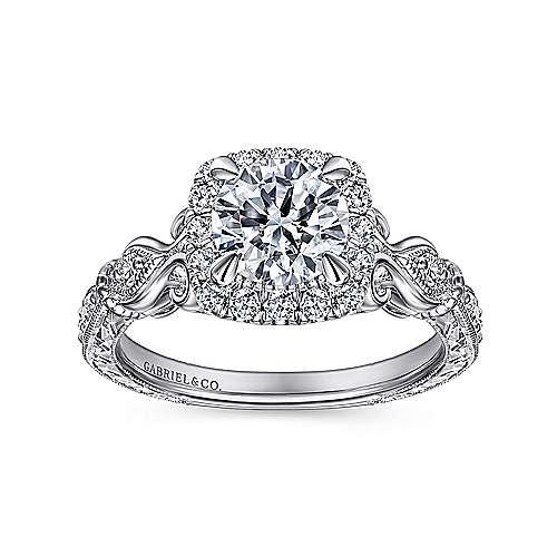 Nantes 18k White Gold Round Halo Engagement Ring angle 5