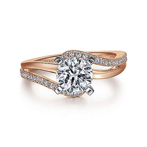 Gabriel - Naomi 14k White And Rose Gold Round Bypass Engagement Ring