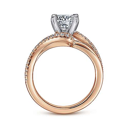 Naomi 14k White And Rose Gold Round Bypass Engagement Ring angle 2