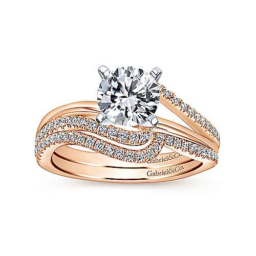 Naomi 14k White And Rose Gold Round Bypass Engagement Ring angle 4