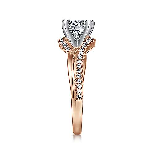 Naomi 14k White And Rose Gold Round Bypass Engagement Ring angle 5