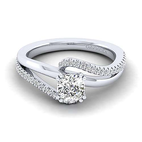 Gabriel - Naomi 14k White Gold Cushion Cut Bypass Engagement Ring