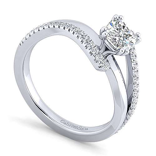 Naomi 14k White Gold Cushion Cut Bypass Engagement Ring angle 3