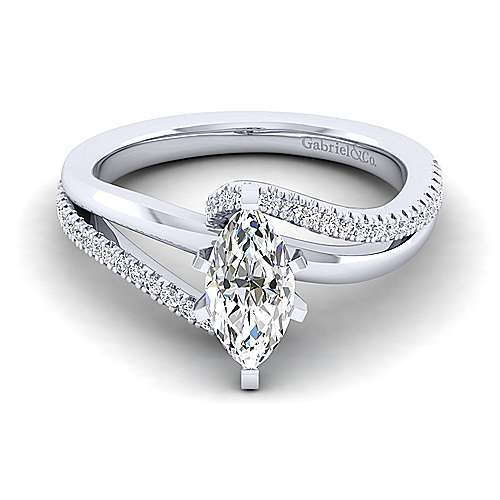 Naomi 14k White Gold Marquise  Bypass Engagement Ring angle 1