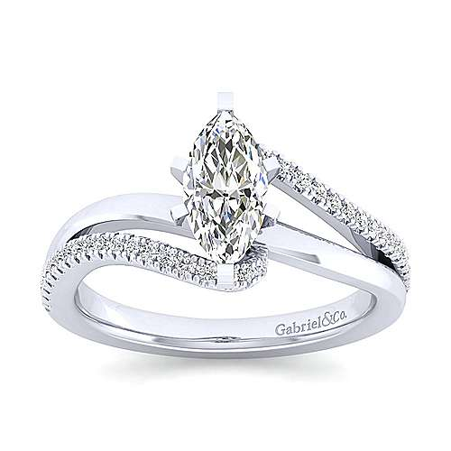 Naomi 14k White Gold Marquise  Bypass Engagement Ring angle 5