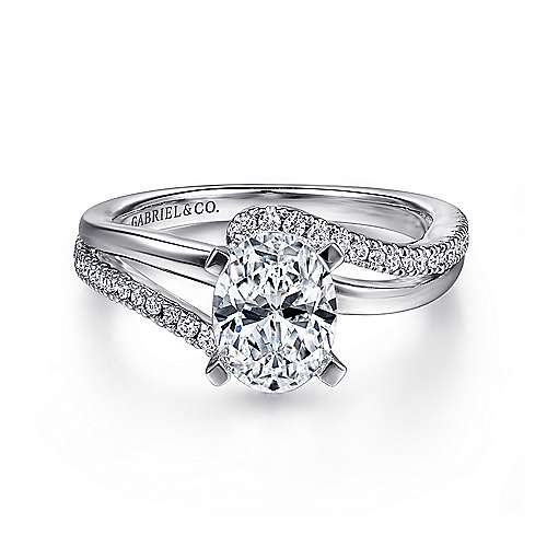 Gabriel - Naomi 14k White Gold Oval Bypass Engagement Ring