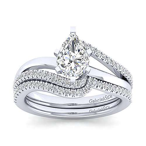 Naomi 14k White Gold Pear Shape Bypass Engagement Ring angle 4