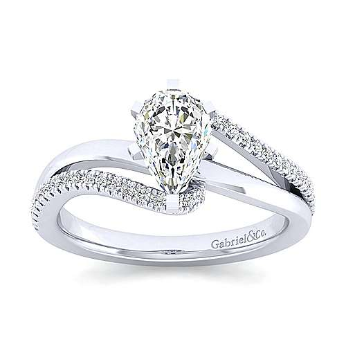Naomi 14k White Gold Pear Shape Bypass Engagement Ring angle 5