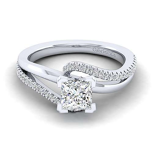 Naomi 14k White Gold Princess Cut Bypass Engagement Ring angle 1