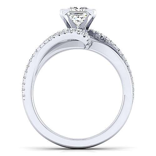 Naomi 14k White Gold Princess Cut Bypass Engagement Ring angle 2