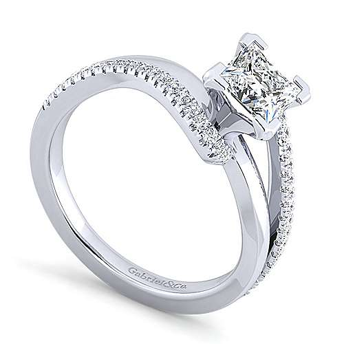 Naomi 14k White Gold Princess Cut Bypass Engagement Ring angle 3