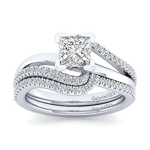 Naomi 14k White Gold Princess Cut Bypass Engagement Ring angle 4