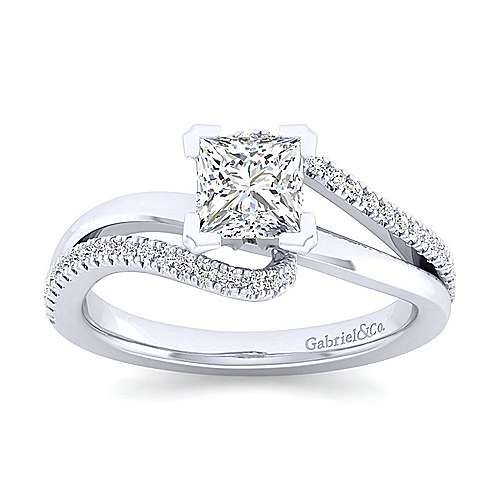 Naomi 14k White Gold Princess Cut Bypass Engagement Ring angle 5