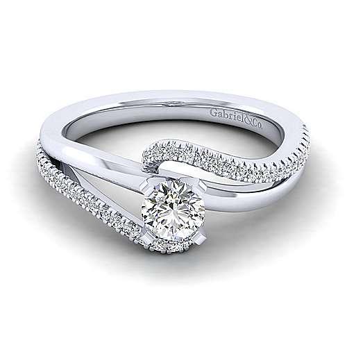 Gabriel - Naomi 14k White Gold Round Bypass Engagement Ring