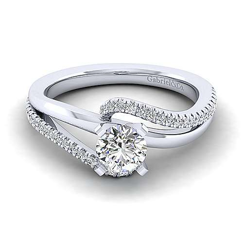 Gabriel - Naomi 14k White Gold Round Bypass Engagement Ring
