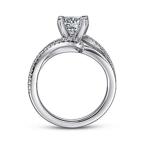Naomi 14k White Gold Round Bypass Engagement Ring angle 2