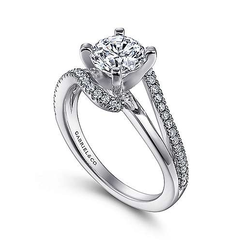 Naomi 14k White Gold Round Bypass Engagement Ring angle 3