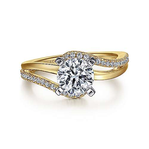 Naomi 14k Yellow And White Gold Round Bypass Engagement Ring angle 1