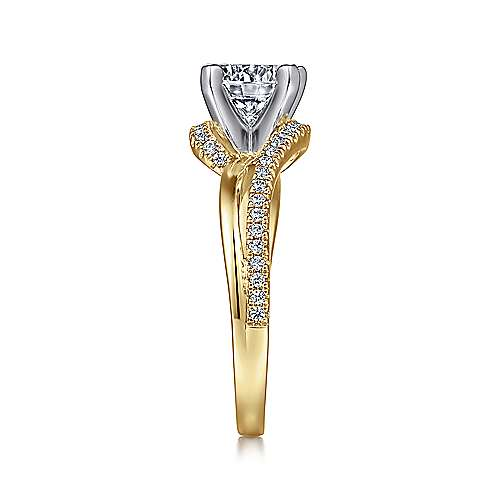 Naomi 14k Yellow And White Gold Round Bypass Engagement Ring angle 5