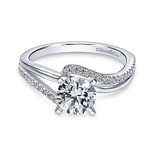 Gabriel - Naomi 18k White Gold Round Bypass Engagement Ring