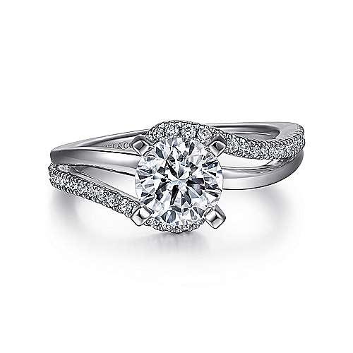 Gabriel - Naomi Platinum Round Bypass Engagement Ring