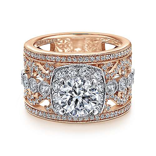 Gabriel - Napa 14k White And Rose Gold Round Halo Engagement Ring