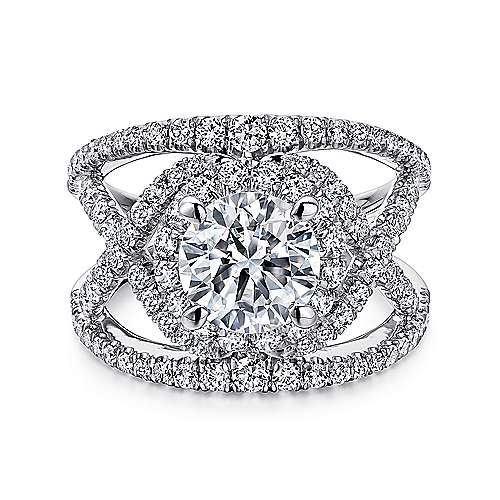 Gabriel - Naples 14k White Gold Round Split Shank Engagement Ring