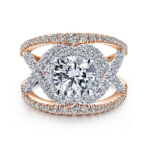Gabriel - Naples 18k White And Rose Gold Round Halo Engagement Ring