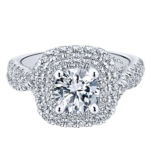 Gabriel - Narcissus 14k White Gold Round Double Halo Engagement Ring