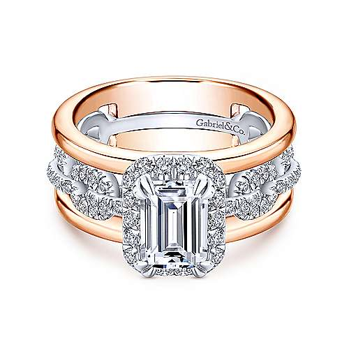 Gabriel - Nash 18k White And Rose Gold Emerald Cut Halo Engagement Ring