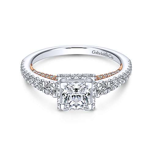 Gabriel - Natalia 14k White And Rose Gold Princess Cut Straight Engagement Ring