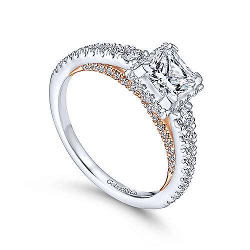 Natalia 14k White And Rose Gold Princess Cut Straight Engagement Ring angle 3