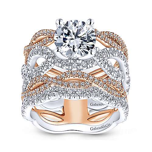 Natasha 18k White And Rose Gold Round Twisted Engagement Ring angle 4