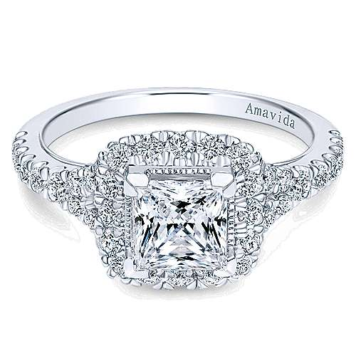 Nature 18k White Gold Princess Cut Halo Engagement Ring angle 1