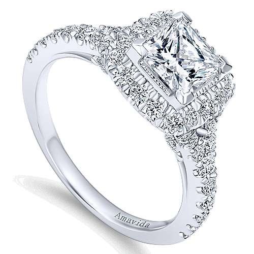 Nature 18k White Gold Princess Cut Halo Engagement Ring angle 3