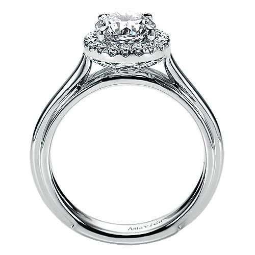 Naz 18k White Gold Round Halo Engagement Ring angle 2