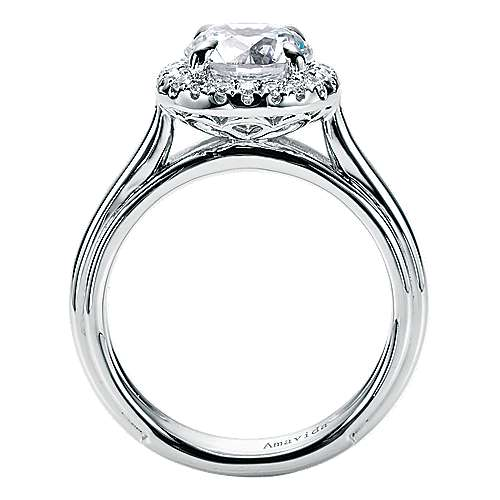 Naz 18k White Gold Round Halo Engagement Ring angle 2
