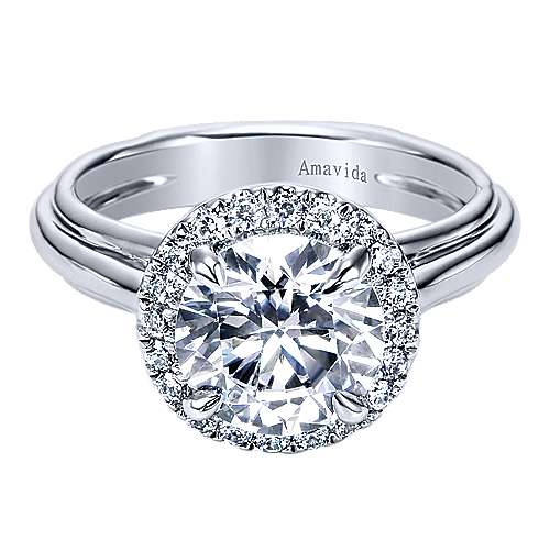 Gabriel - Naz 18k White Gold Round Halo Engagement Ring