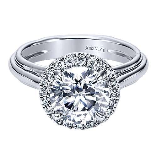 Gabriel - Naz 18k White Gold Round Halo Engagement Ring