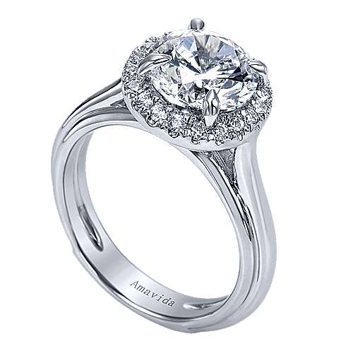 Naz 18k White Gold Round Halo Engagement Ring