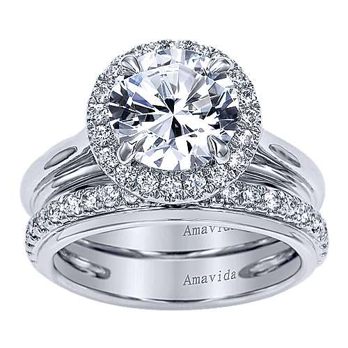 Naz 18k White Gold Round Halo Engagement Ring angle 4