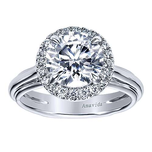 Naz 18k White Gold Round Halo Engagement Ring angle 5