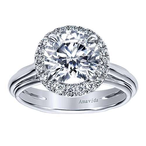 Naz 18k White Gold Round Halo Engagement Ring