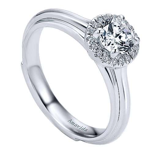 Naz 18k White Gold Round Halo Engagement Ring angle 3