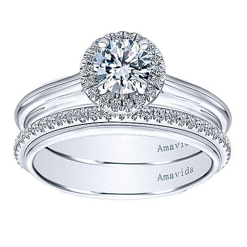 Naz 18k White Gold Round Halo Engagement Ring angle 4