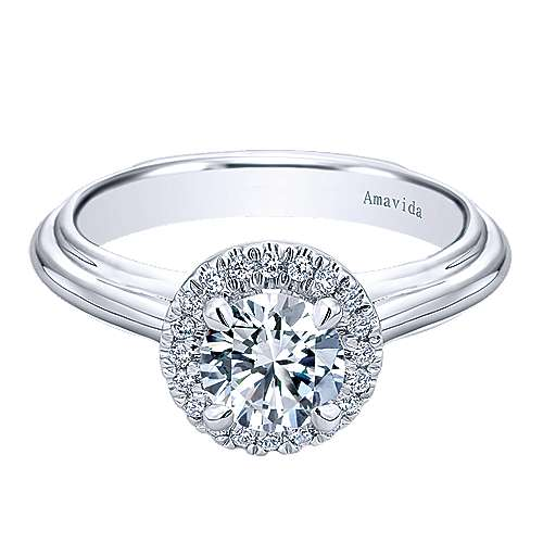 Naz 18k White Gold Round Halo Engagement Ring angle 1