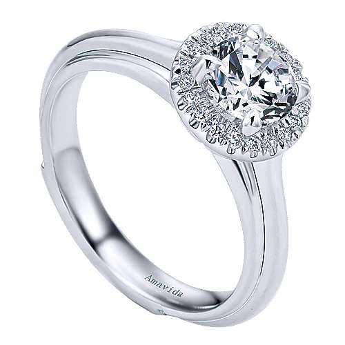 Naz 18k White Gold Round Halo Engagement Ring angle 3