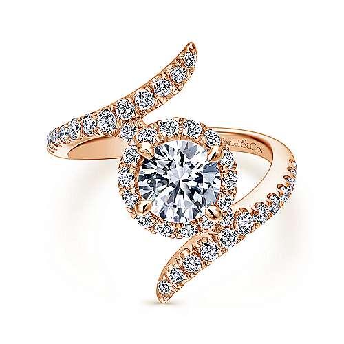 Gabriel - Nebula 14k Rose Gold Round Halo Engagement Ring
