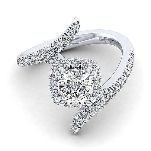 Gabriel - Nebula 14k White Gold Cushion Cut Halo Engagement Ring